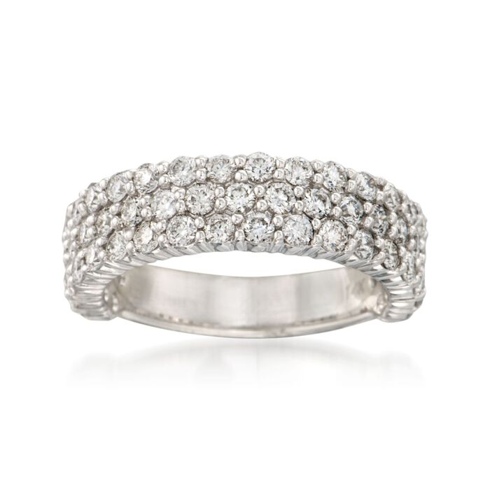 1.85 ct. t.w. Diamond Three-Row Ring in 14kt White Gold