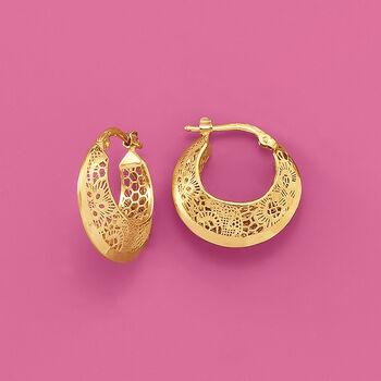 """Italian 18kt Yellow Gold Floral Openwork Hoop Earrings. 3/4"""", , default"""