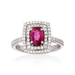 .80 Carat Ruby and .49 ct. t.w. Diamond Ring in 18kt White Gold, , default