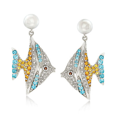 7-7.5mm Cultured Pearl and 1.65ct. t.w. Multi-Stone Angelfish Earrings in Sterling Silver , , default