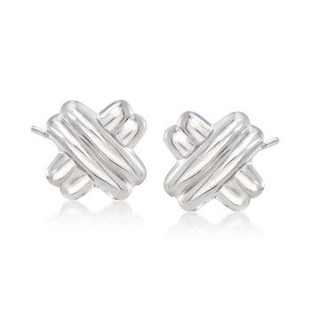 Sterling Silver Double Crisscross Earrings, , default