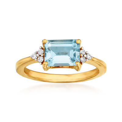 1.60 Carat Aquamarine Ring with Diamond Accents in 14kt Yellow Gold