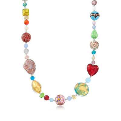 Italian Multicolored Murano Glass Bead Necklace with Sterling Silver, , default