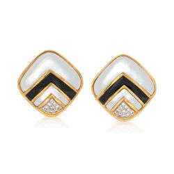C. 1980 Vintage Black Onyx and .55 ct. t.w. Diamond Earrings With Mother-Of-Pearl in 18kt Gold , , default