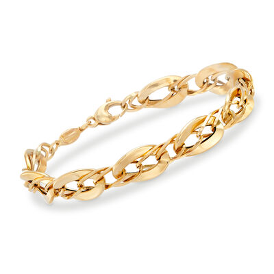 Italian 14kt Yellow Gold Oval-Link Bracelet, , default