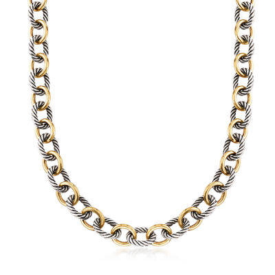C. 1990 Vintage David Yurman Sterling Silver and 18kt Yellow Gold Cable Link Necklace, , default