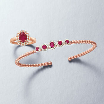 1.50 Carat Ruby and .29 ct. t.w. Diamond Double Halo Ring in 14kt Rose Gold, , default