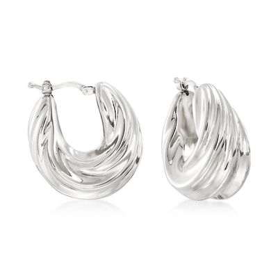 Italian Sterling Silver Pleated Twist Hoop Earrings, , default