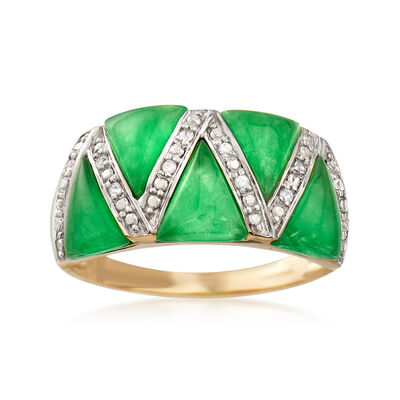 6.6x5.8mm Green Jade Ring with White Sapphire Accents in 14kt Yellow Gold, , default