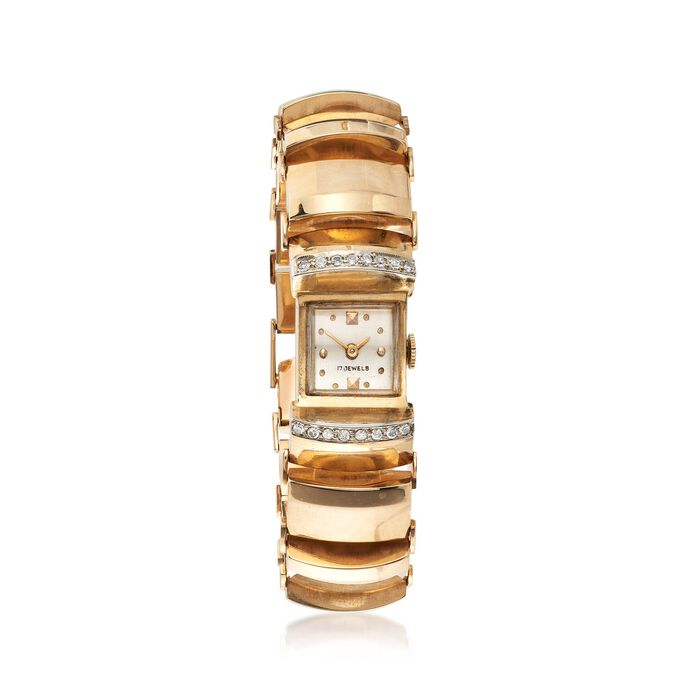 C. 1930 Vintage Women's .35 ct. t.w. Diamond Watch in 14kt Yellow Gold. Size 6.5, , default