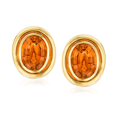 """C. 1982 Vintage Tiffany Jewelry """"Paloma Picasso"""" 10.00 ct. t.w. Citrine Clip-On Earrings in 18kt Yellow Gold, , default"""