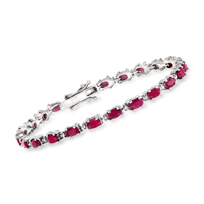 6.50 ct. t.w. Ruby Bracelet with Diamond Accents in Sterling Silver. 7.25""