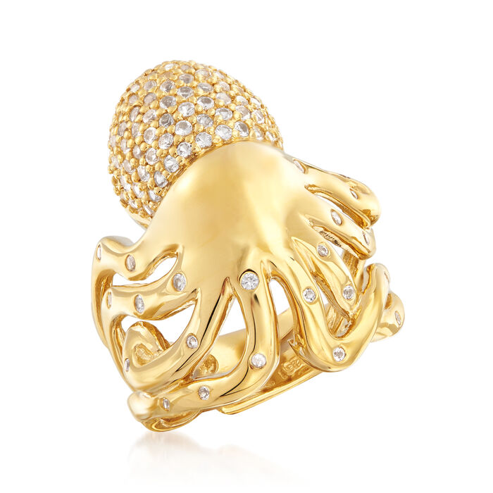 .70 ct. t.w. White Topaz Octopus Cocktail Ring in 18kt Gold Over Sterling