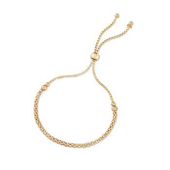 Italian 18kt Yellow Gold Over Sterling Silver Mesh-Style Bolo Bracelet, , default