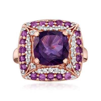 4.40 ct. t.w. Amethyst and .52 ct. t.w. White Topaz Ring in 18kt Rose Gold Over Sterling, , default