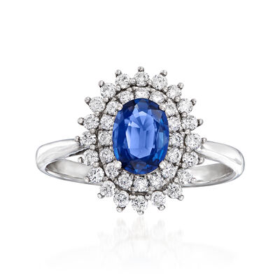 .60 Carat Sapphire and .44 ct. t.w. Diamond Ring in 18kt White Gold, , default