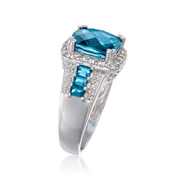 5.25 ct. t.w. London Blue Topaz Ring with .10 ct. t.w. Diamonds in Sterling Silver