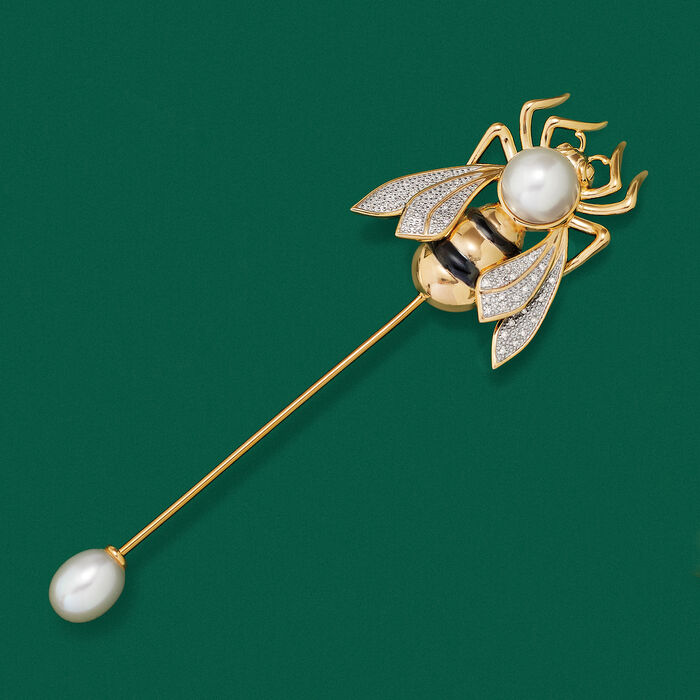 7.5-10mm Cultured Pearl and .12 ct. t.w. Diamond Bumblebee Stick Pin in Sterling Silver and 18kt Gold Over Sterling