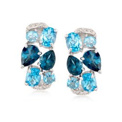 "9.10 ct. t.w. Blue and White Topaz Mosaic Earrings in Sterling Silver. 5/8"", , default"