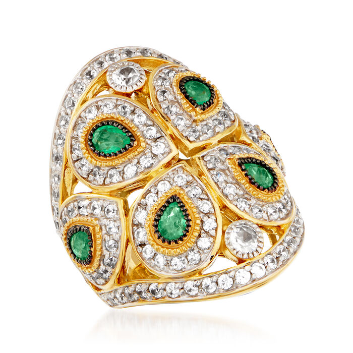 2.10 ct. t.w. White Zircon and 1.20 ct. t.w. Emerald Ring in 18kt Gold Over Sterling