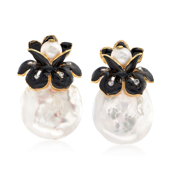 2mm Cultured Pearl Floral Earrings with CZ Accents in 18kt Gold Over Sterling