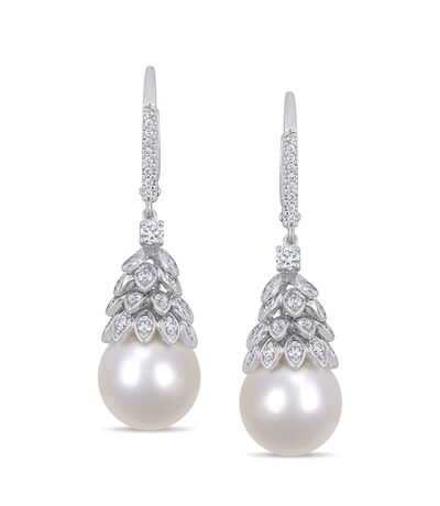 10.5-11mm Cultured South Sea Pearl and .72 ct. t.w. Diamond Drop Earrings in 14kt White Gold