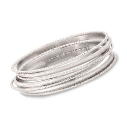 "Italian Sterling Silver Jewelry Set: Seven Bangle Bracelets. 7"", , default"