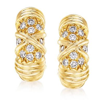 C. 1980 Vintage Van Cleef .30 ct. t.w. Diamond Clip Earrings in 18kt Yellow Gold
