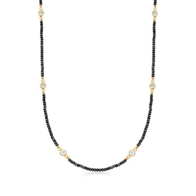 25.00 ct. t.w. Black Spinel and 3.90 ct. t.w. White Topaz Station Necklace in 18kt Gold Over Sterling, , default