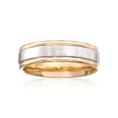Men's 6mm 14kt Two-Tone Gold  Wedding Ring, , default