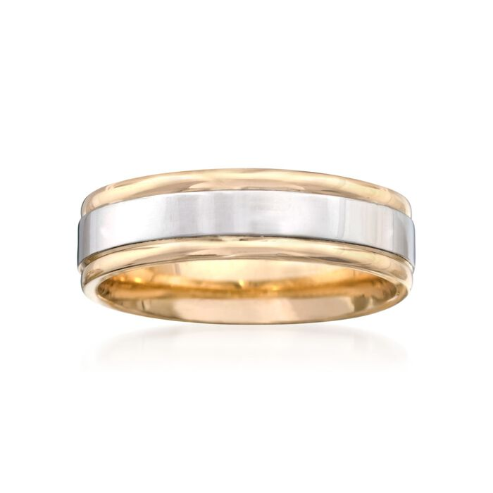 Men's 6mm 14kt Two-Tone Gold  Wedding Ring. Size 9, , default