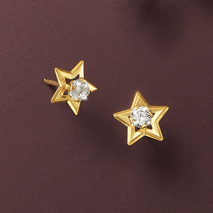 .20 ct. t.w. CZ Star Stud Earrings in 14kt Yellow Gold