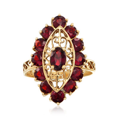 C. 1980 Vintage 3.40 ct. t.w. Garnet Navette Ring in 14kt Yellow Gold, , default