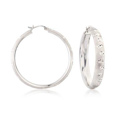 Sterling Silver Diamond-Cut Hoop Earrings, , default