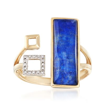 Geometric Lapis Cuff Ring with Rock Crystal and Diamond Accents in 14kt Yellow Gold, , default