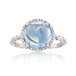 5.50 Carat Blue Topaz Ring With Diamond Accents in 14kt White Gold, , default