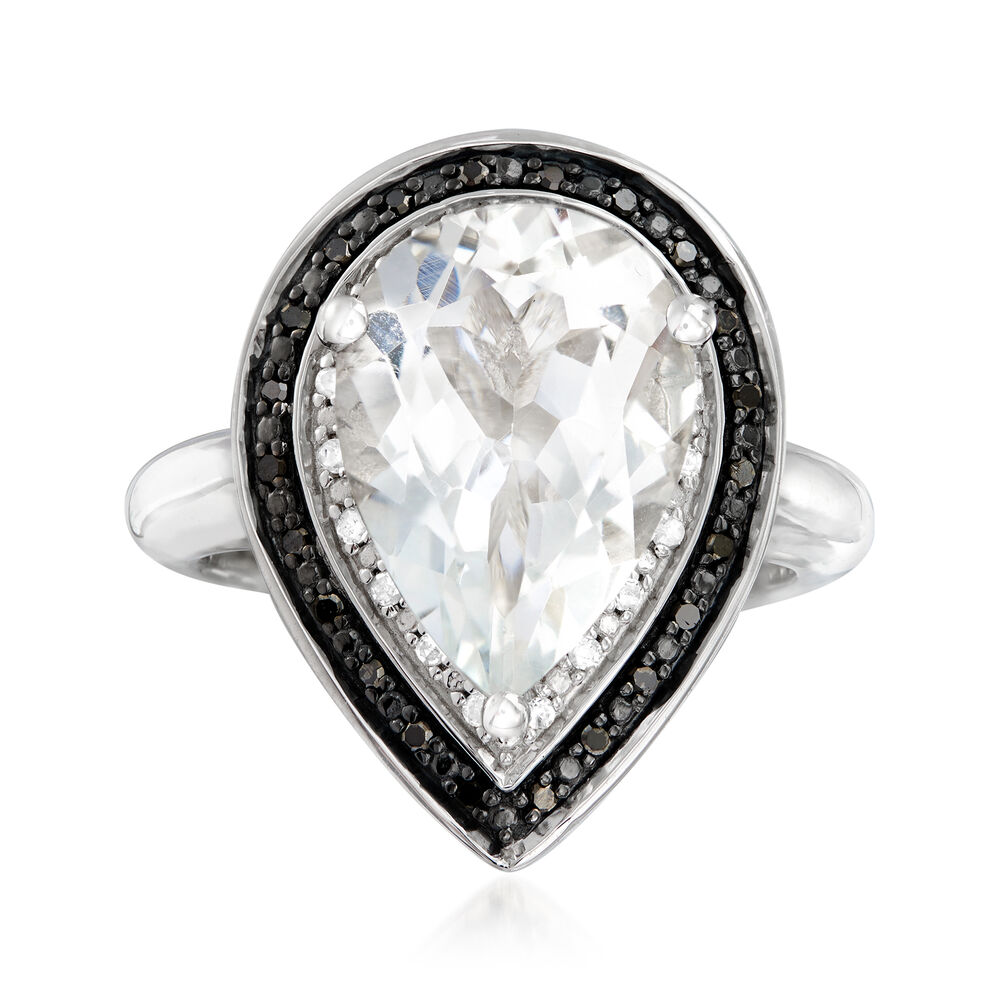 1 80 Carat White Topaz And 20 Ct T W Black And White Diamond Ring In Sterling Silver Ross Simons