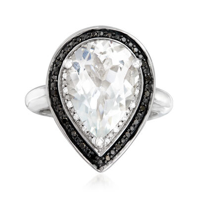 1.80 Carat White Topaz and .20 ct. t.w. Black and White Diamond Ring in Sterling Silver