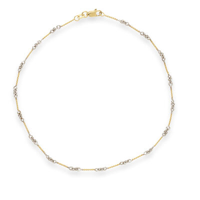 14kt Two Tone Gold Twist Bar Cable Anklet, , default