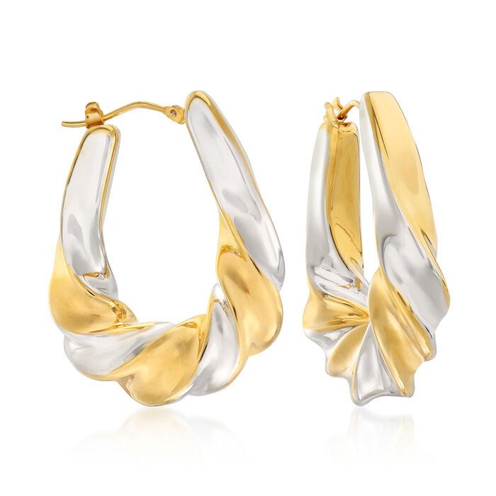 "Italian Andiamo 14kt Two-Tone Gold Twisted Hoop Earrings. 1 3/8"""
