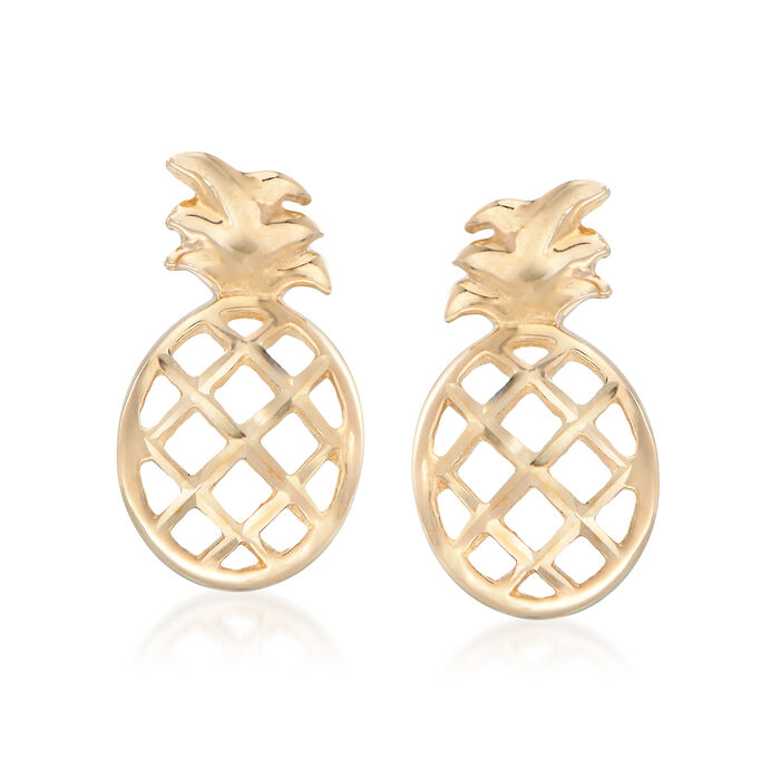14kt Yellow Gold Diamond-Cut and Polished Pineapple Stud Earrings