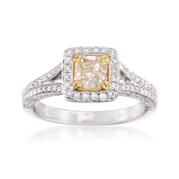 1.20 ct. t.w. Fancy Yellow and White Diamond Engagement Ring in 18kt Two-Tone Gold, , default