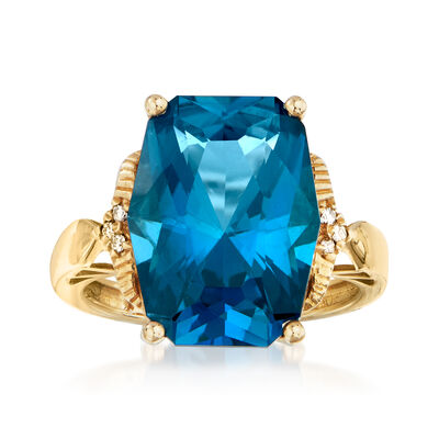 10.00 Carat London Blue Topaz Ring in 14kt Yellow Gold