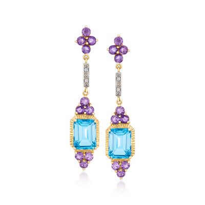 3.90 ct. t.w. Blue Topaz and 1.20 ct. t.w. Amethyst Drop Earrings in 14kt Yellow Gold with Diamond Accents, , default