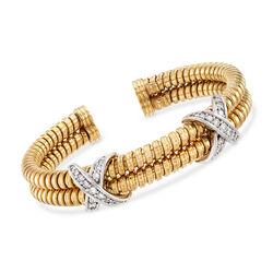 C. 1980 Vintage 1.00 ct. t.w. Diamond X Cuff Bracelet in 18kt Yellow Gold, , default