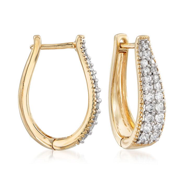 .50 ct. t.w. Diamond Oval Hoop Earrings in 14kt Yellow Gold, , default