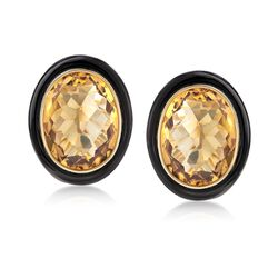 Black Onyx and 17.00 ct. t.w. Citrine Earrings in 14kt Yellow Gold, , default