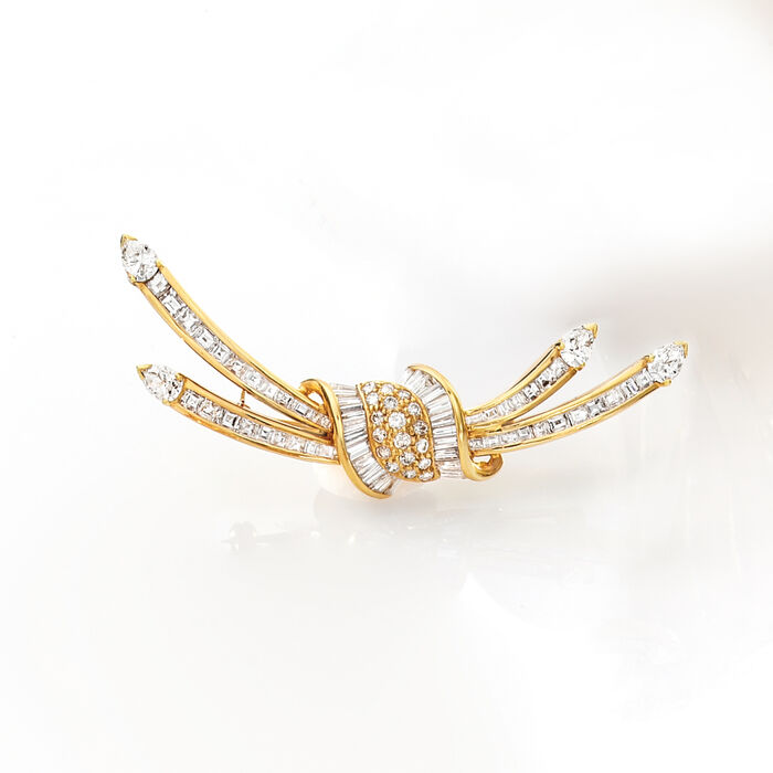 C. 1990 Vintage 4.15 ct. t.w. Diamond Burst Pin in 18kt Yellow Gold