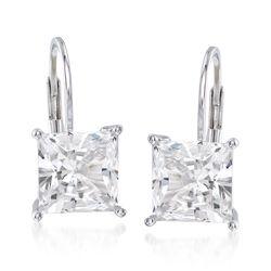 4.00 ct. t.w. Princess-Cut CZ Drop Earrings in Sterling Silver, , default