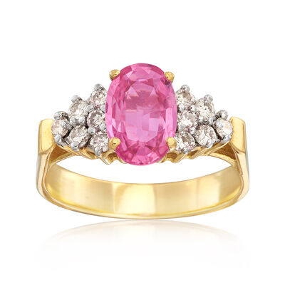 C. 1990 Vintage 1.72 Carat Pink Sapphire .40 ct. t.w. Diamond Ring in 14kt Yellow Gold, , default